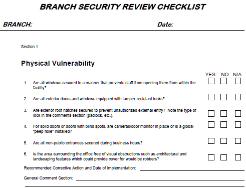 Branch Security Review Checklist